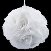 "Quasimoon 6"" White Rose Flower Pomander Small Wedding Kissing Ball for Weddings and Decoration by PaperLanternStore"