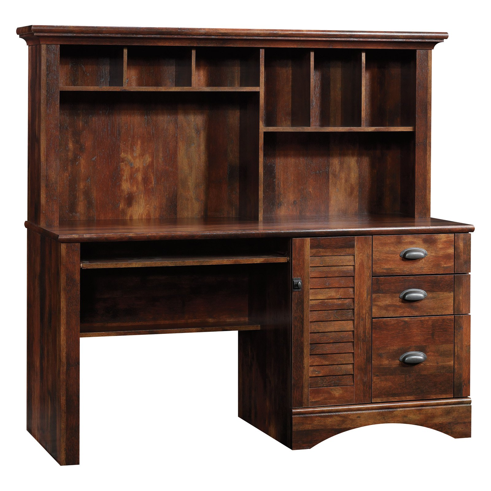 Sauder Harbor View Cherry Computer Desk with Hutch