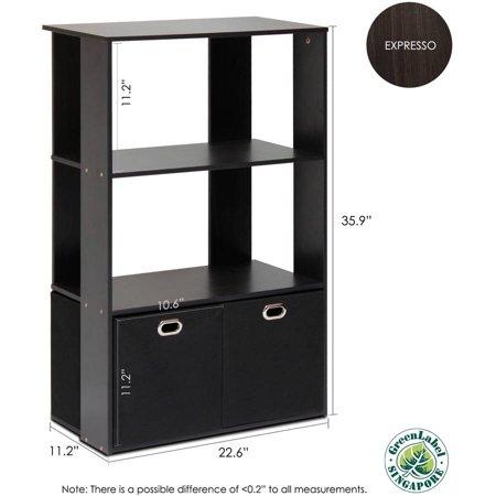 Furinno Simplistic 3-Tier Organizer with Bin Drawers, Espresso/Black