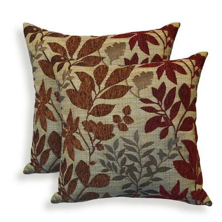 Essentials 19-62962BUR Bristol Chenille Jacquard Leaf Toss Pillow, Burgundy - Set of 2