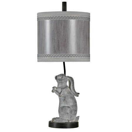 Greyson Table Lamp - Washed Gray With Charcoal Base Finish - White Hardback Fabric Shade