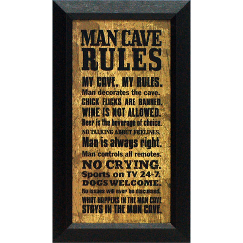 Artistic Reflections Man Cave Rules by Tonya Framed Textual Art
