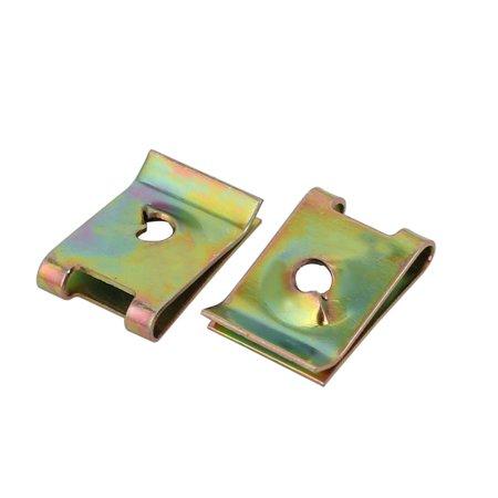 20pcs M4/ST4.0 Thread 65Mn Steel Zinc Plated Spring U Nut Brass Tone 16mmx11mm - image 2 of 4