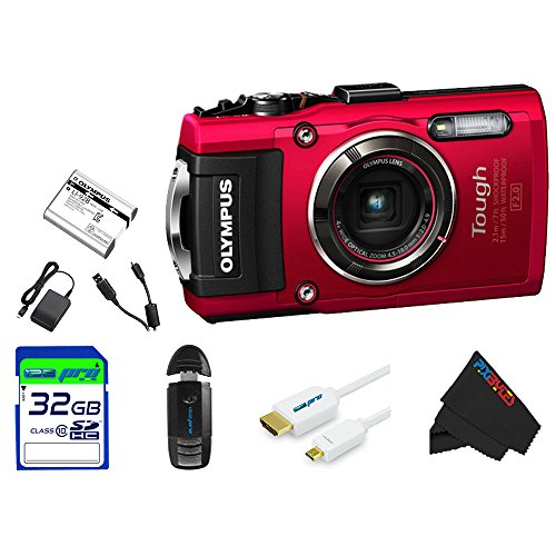 "Olympus OLYTG4RD-32GB4PC Stylus 16 Waterproof Digital Camera with 4x OIS Zoom, 3"" LCD (Red)"