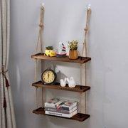 Wood Hanging Shelf Wall Swing Storage Shelves Jute Rope Organizer Rack 3 Tier