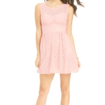 (B. Darlin NEW Blush Pink Illusion Lace Size 5/6 Juniors A-Line Dress)