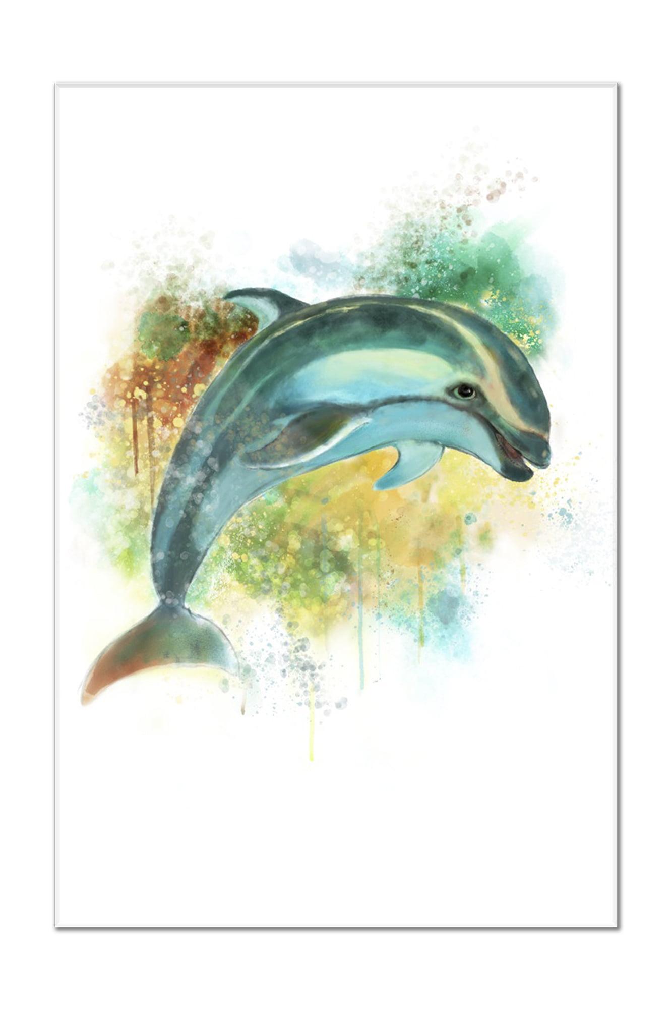 Pacific White-Sided Dolphin - Watercolor - Lantern Press Artwork ...