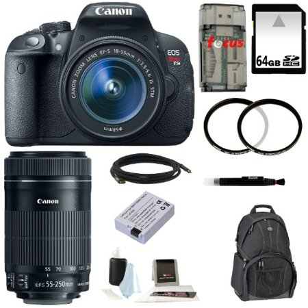 Canon EOS Rebel T5i DSLR Camera with EF-S 18-55mm f/3.5-5.6 IS STM Lens and Canon EF-S 55-250mm f/4-5.6 IS STM Lens plus 64GB Deluxe Accessory Kit