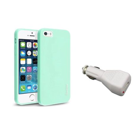 Insten Mint Green Jelly TPU Rubber Case+Car Charger Adapter For iPhone 5 5S