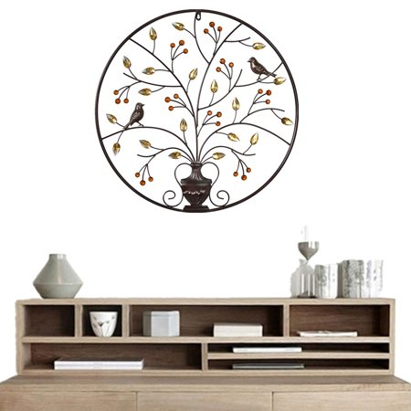 Birds Tree Iron Sculpture Ornament Home Room Wall Hanging Decoration 24'' x 24'' - image 1 de 8