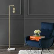 "Vega 60"" Minimalist Edison Metal/Marble Floor Lamp, Gold by JONATHAN Y"