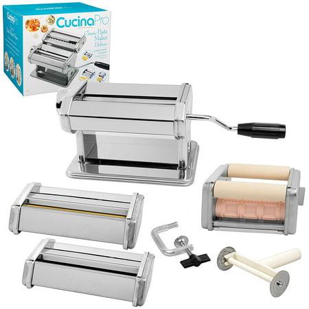 Pasta Maker Deluxe Set By Cucina Pro -Includes Spaghetti, Fettucini, Angel Hair, Ravioli, Lasagnette Attachments