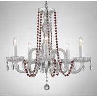 Crystal Chandelier Lighting With Red Colored Crystal!