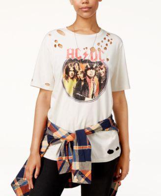 Freeze 24-7 Juniors AC//DC Lace-Up Graphic Sweatshirt