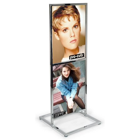 Two-tier Poster Stand for 22x28 Graphics, Side-loading Frame, Double-sided Display, Chrome-colored (EMPS2CH)
