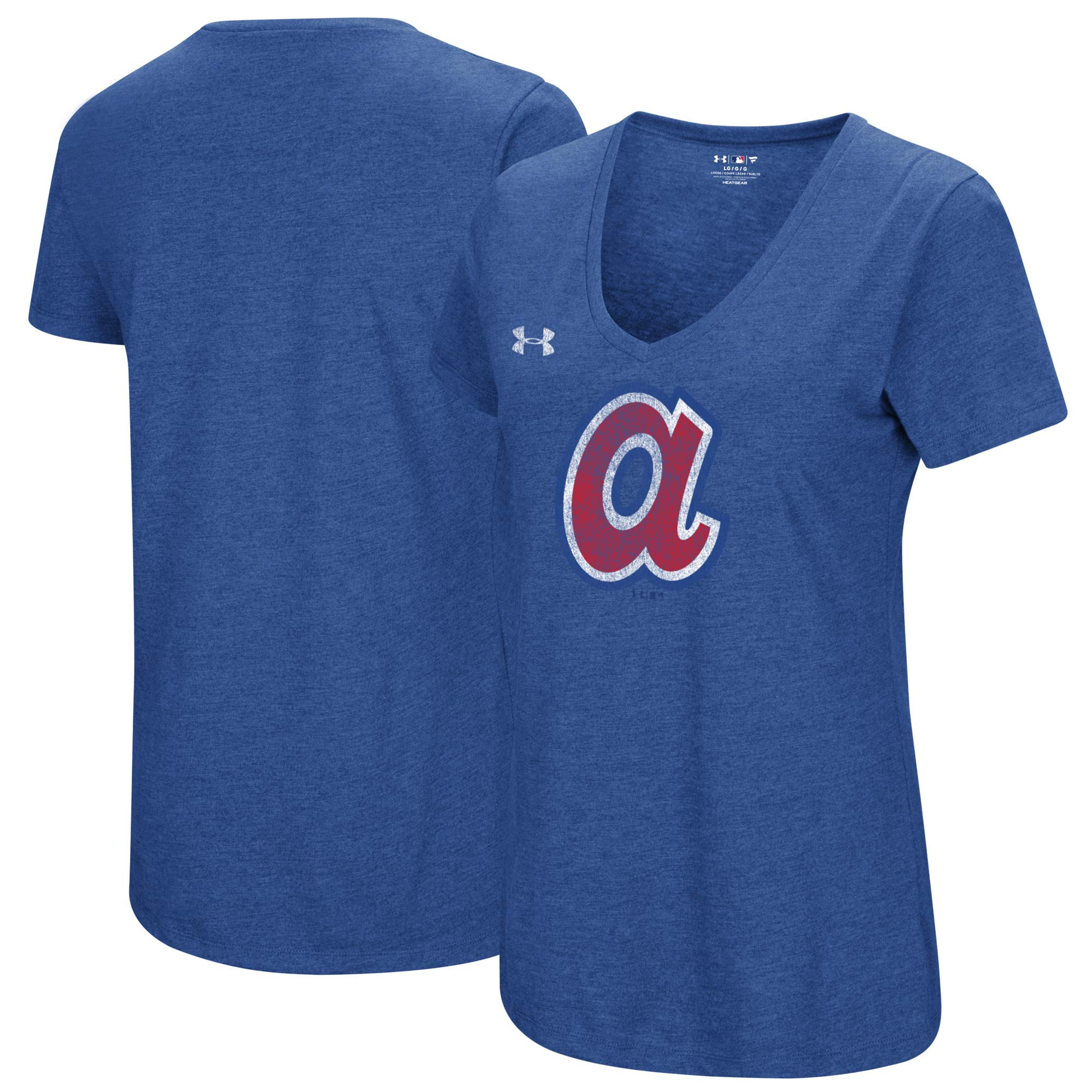 Atlanta Braves Under Armour Women's Cooperstown Collection Logo Performance Tri-Blend V-Neck T-Shirt - Heathered Royal