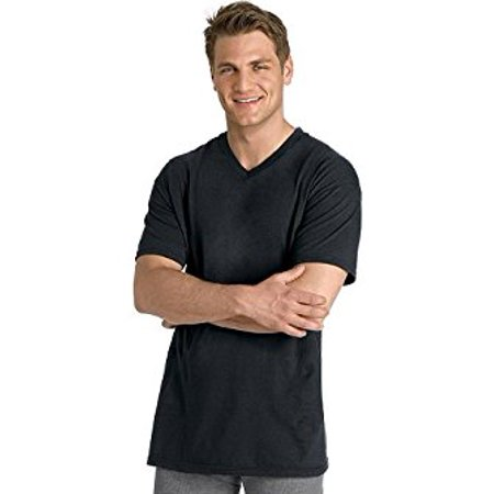 23e05387 Hanes - Men`s Dyed ComfortSoft TAGLESS V-Neck Undershirt 4 Pack, XL-Black  and Grey - Walmart.com
