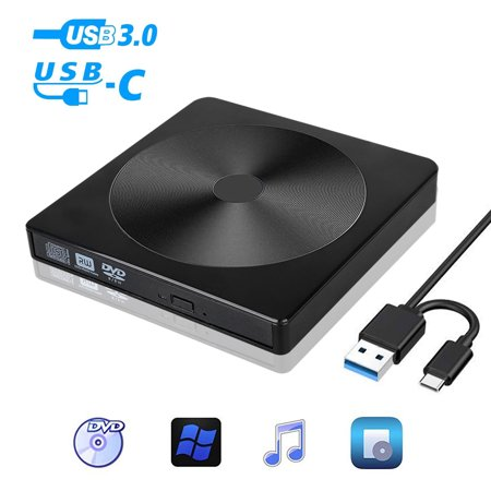 External DVD Drive, Type C USB 3.0 High-Speed CD/DVD +/-RW Drive DVD Player for Laptop - Portable CD ROM Burner/DVD Reader Writer Compatible with Laptop Desktop PC Windows/Apple Mac OS/Linux, Black Laptop Cd Rom Dvd