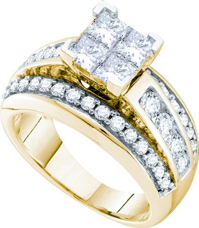 14K Yellow Gold 2.00ctw Invisible Set Diamond Princess Fashion Bridal Set Ring by Jewelrypot