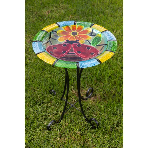 Alpine Corporation 18 Inch Glass Glow In The Dark Ladybug Bird Bath Walmart Com Walmart Com