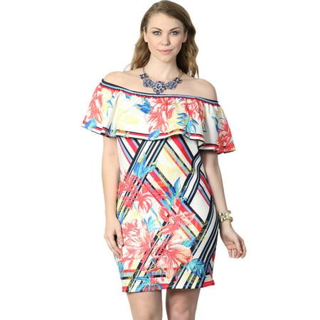 TheMogan Junior's Plus Floral Print Off Shoulder Stretch Scuba Knit Dress