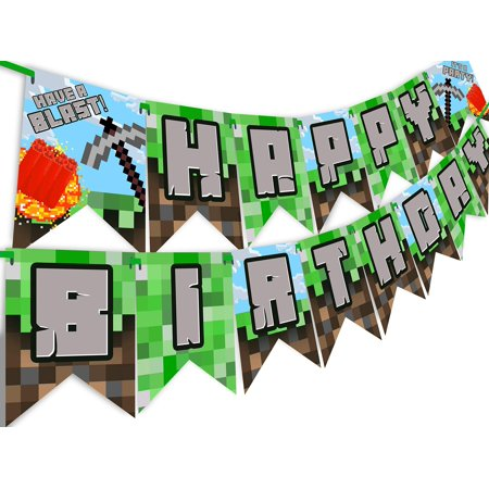 Custom Made Party Banners (Pixel Party Happy Birthday Banner - Made in the USA -)