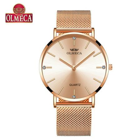OLMECA 0839L Women Quartz Watch Stainless Steel Band Fashion Multifunction 3ATM Wristwatch
