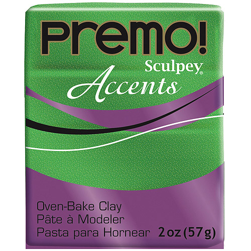 Sculpey Premo Premium Polymer Clay (Green Glitter) (4 Units Included)