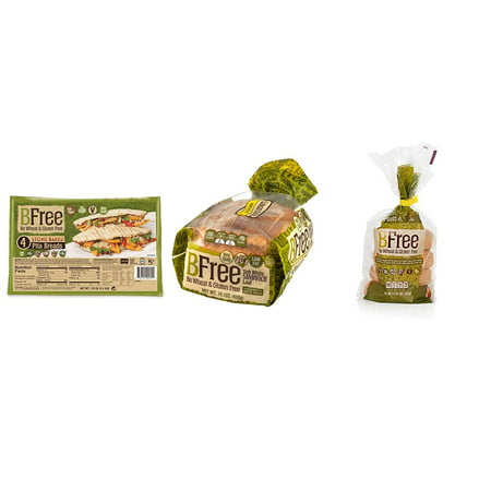 BFree Gluten Free Bread Variety Pack: Plain Bagels, White Bread, Stone-Baked Pita (3 Packs Total) (Gluten Free Focaccia Bread)