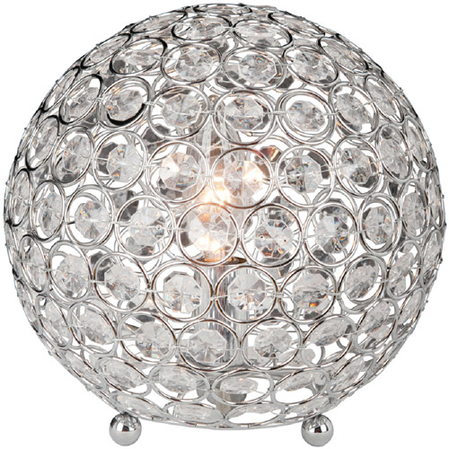Elegant Designs Crystal Ball Table Lamp, Chrome