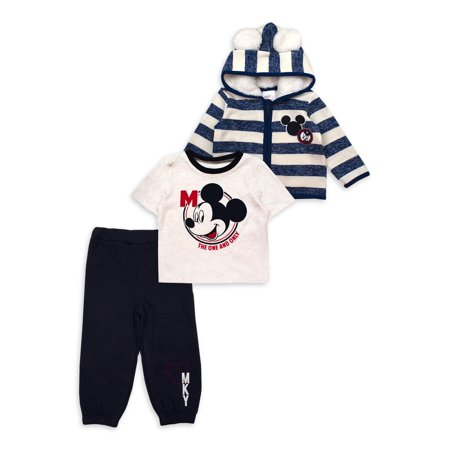 Mickey Mouse Baby Boy Mickey Ear Microfleece Jacket, Short Sleeve T-Shirt & Pants, 3pc Outfit Set ()