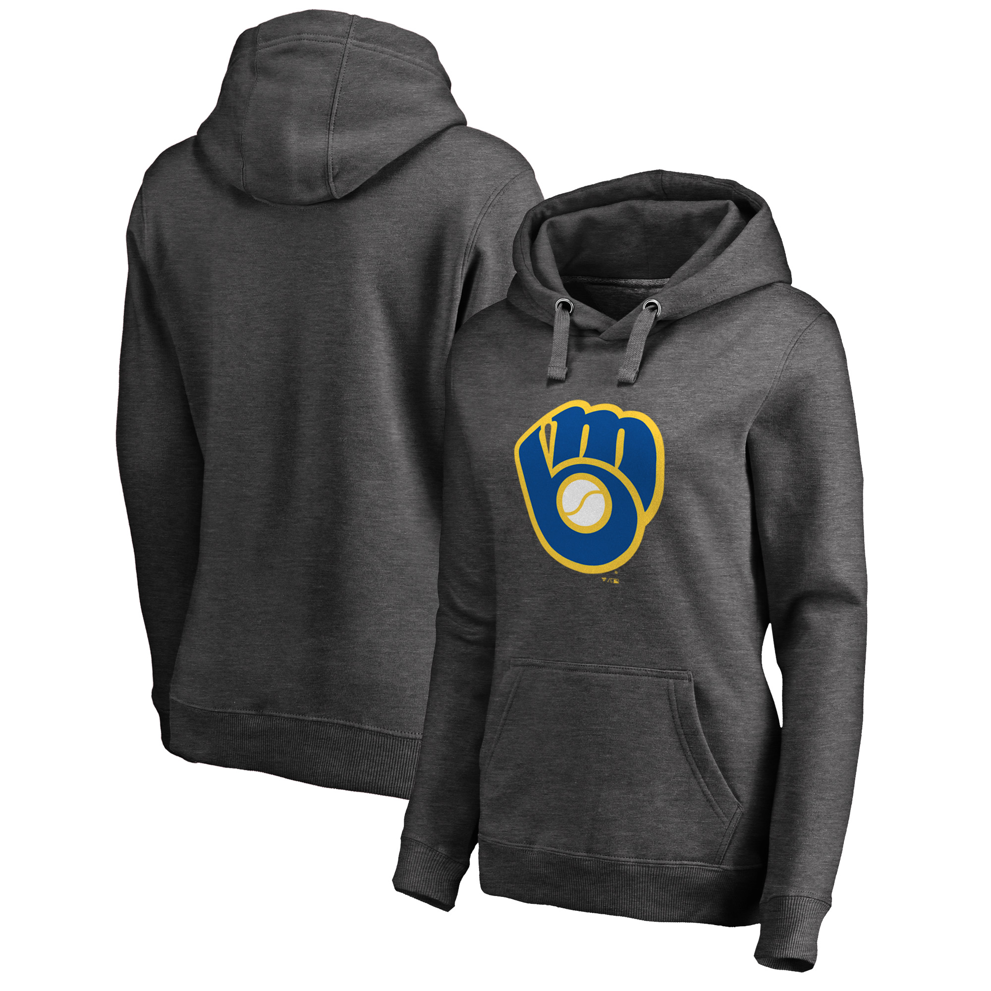 Milwaukee Brewers Fanatics Branded Women's Cooperstown Collection Huntington Pullover Hoodie - Heathered Gray