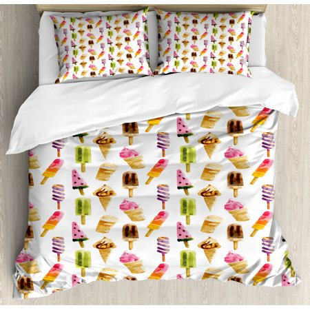 Ice Cream King Size Duvet Cover Set, Artistic Watercolor Pattern with Different Products Choc Ice Freshness Enjoyment, Decorative 3 Piece Bedding Set with 2 Pillow Shams, Multicolor, by Ambesonne