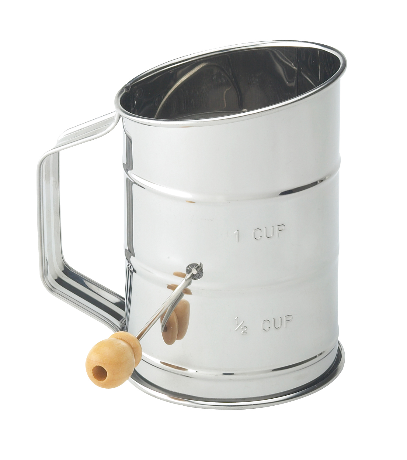 Mrs. Andersons Baking Hand Crank Flour Icing Sugar Sifter, Stainless Steel, 1-Cup by HIC Harold Import Co.