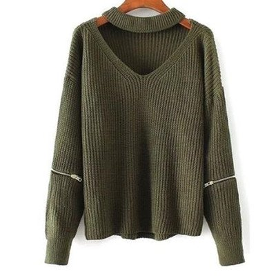- Superior Quality Fashion Women Winter Warm Casual Loose Open Zipper Sleeve Cut Out Chunky Choker Halter Knitted Sweater