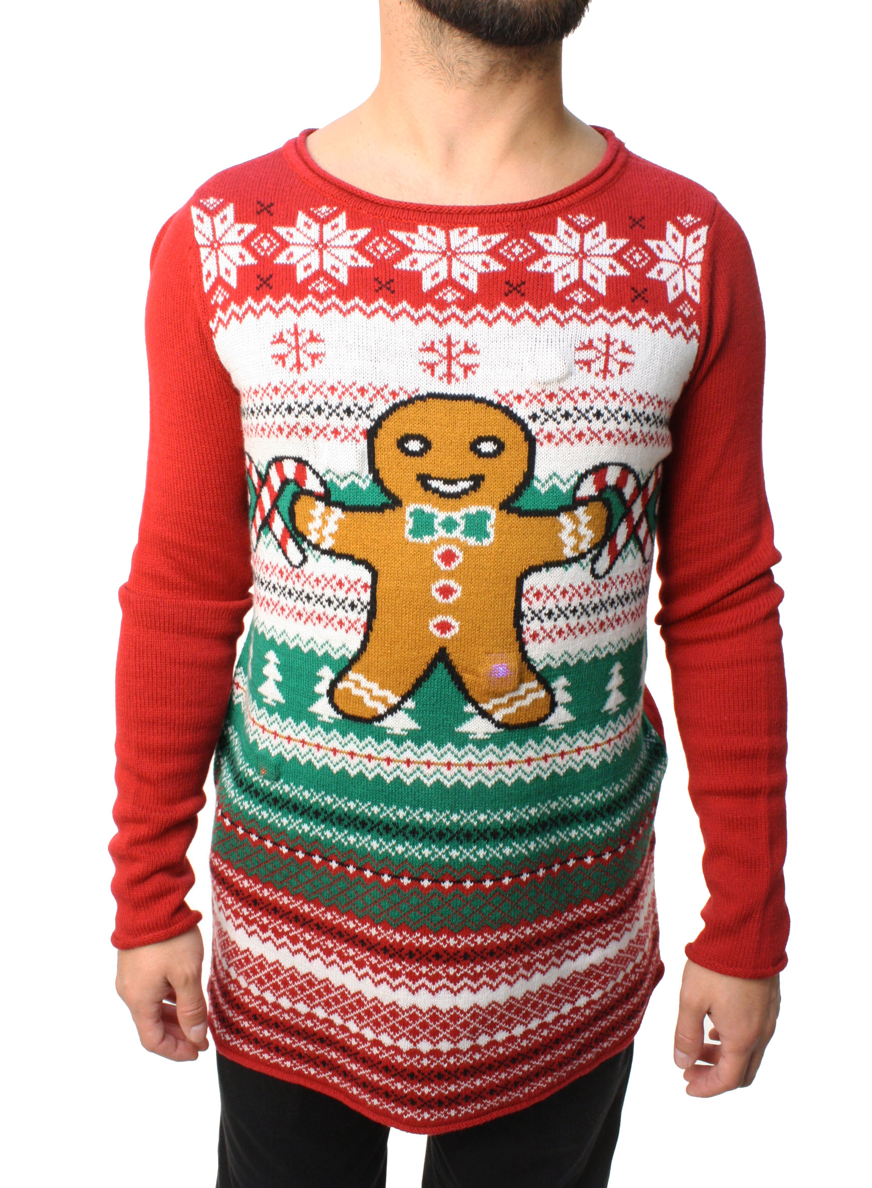 Ugly Christmas Sweater Teen Boy's Gingerbread LED Light Up Sweatshirt-Large