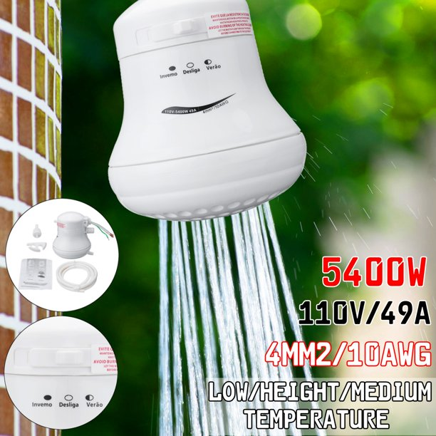 110v 5400w Electric Shower Head Heater Automatic Electric Instant Hot Water Shower Head For Home Water Bath Accessories Rapidly Heating Power Adjustable Walmart Com Walmart Com