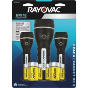 Rayovac Brite Essentials Robust Rubber LED Flashlight, 3-Pack (BER2AA2D-B3TA), Batteries Included
