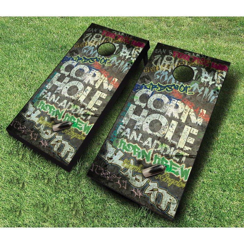 AJJ Cornhole Fan Addict Cornhole Set with Bags by
