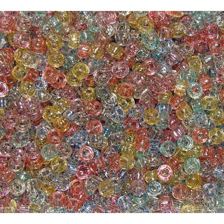 JOLLY STORE Crafts Multi Glitter 7x4mm Mini Pony Beads, - Glitter Beads
