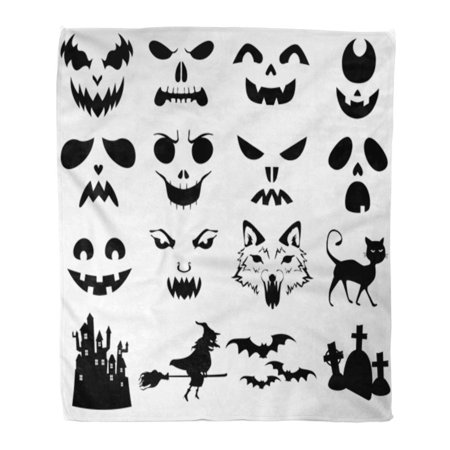 ASHLEIGH Throw Blanket Warm Cozy Print Flannel Stencil of Halloween Pumpkins Carved Silhouettes Face Comfortable Soft for Bed Sofa and Couch 58x80 Inches