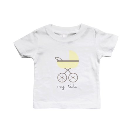 My Ride Funny White Baby Shirt Cute Infant Tee for Boys and