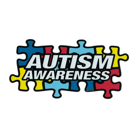 Magnetic Bumper Sticker - Autism Awareness (Puzzle Pieces, Autistic) - Puzzle Piece Shaped Support Magnet - 7