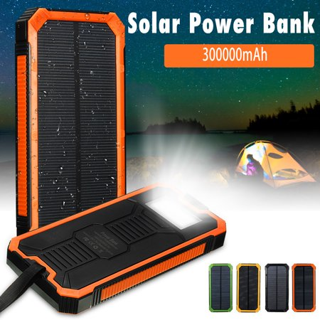 Waterproof 300000mah 2 USB Portable Solar Battery Solar Power Bank LED Flashlight + Carabiner + USB Cable for
