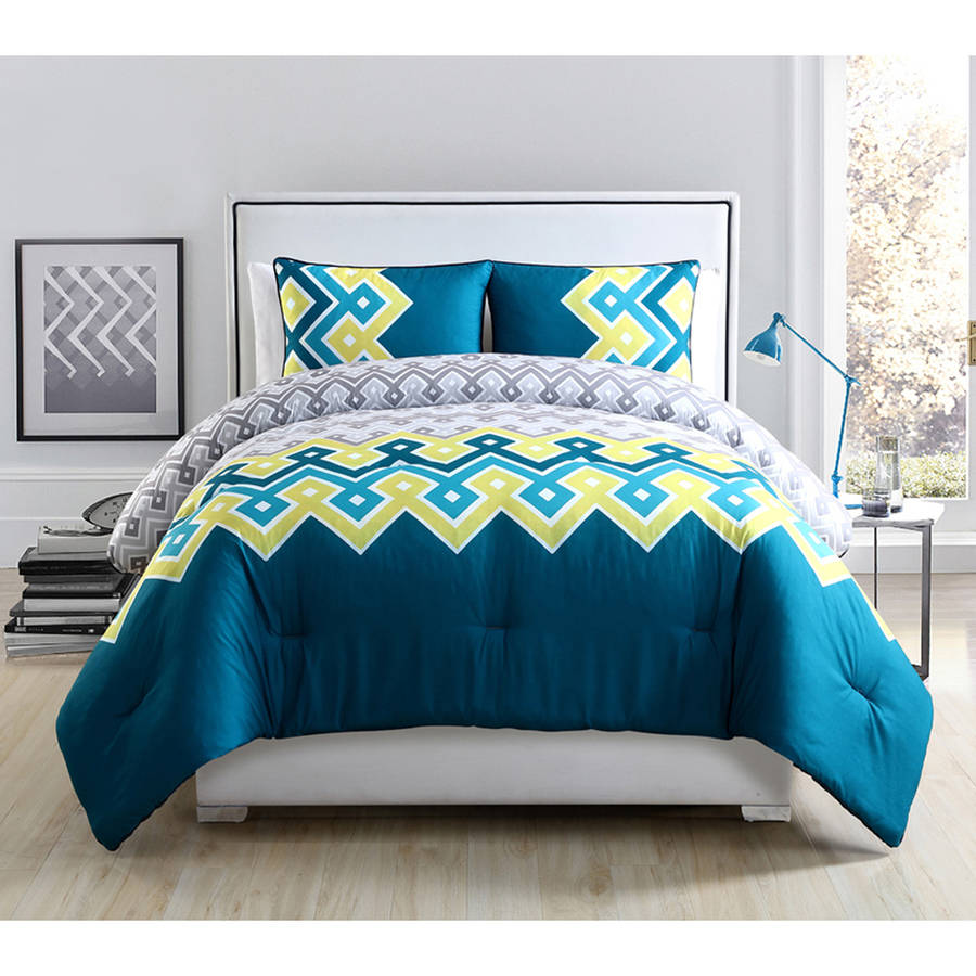 VCNY Katya Multi-Colored Geometric Embroidered 3-Piece Bedding Comforter Set, Multiple Colors Available