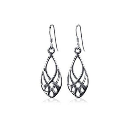 Gem Avenue 925 Sterling Silver Endless Knot Design Fish Hook Dangle Earrings