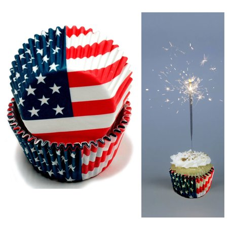 100 X American Flag Cupcake Liners Wrapper Cake Muffin Baking Cups Party Dessert ()