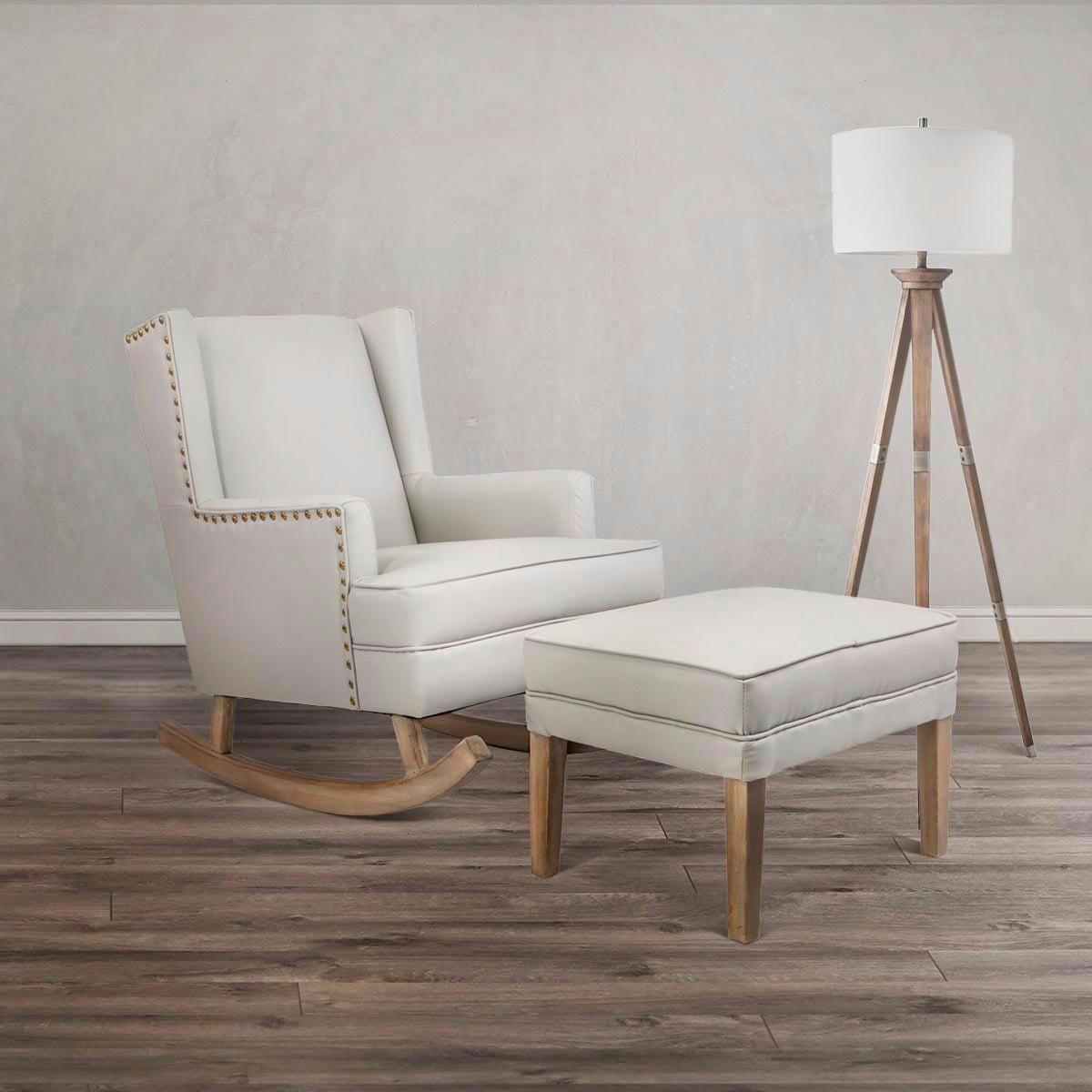 Barton Leather Rocking Chair Glider & Ottoman Set with Cushion, Beige by BARTON
