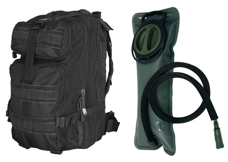 """Black Combat Survival Transport Medium 17"""" Bug-Out Bag BackPack MOLLE Military Rucksack Pack + 2.5 Liter 84 oz.... by"""