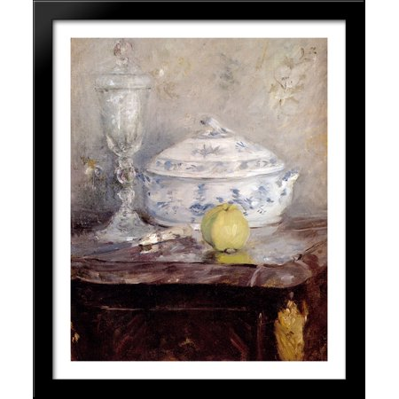 - Tureen And Apple 28x34 Large Black Wood Framed Print Art by Berthe Morisot